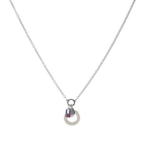 Tommy Hilfiger Halskette silber Anhänger mit dezenter Label-Prägung