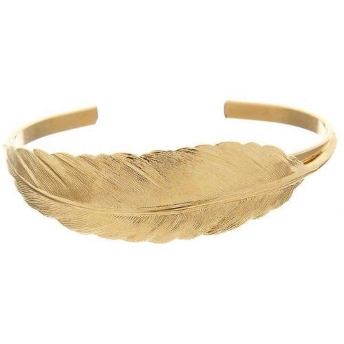 TomShot Armband gold zart gearbeitete Feder