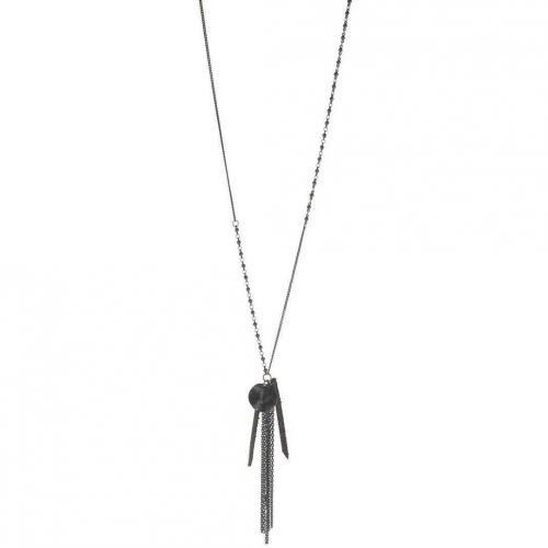 Tree Halskette black Messing und Leder