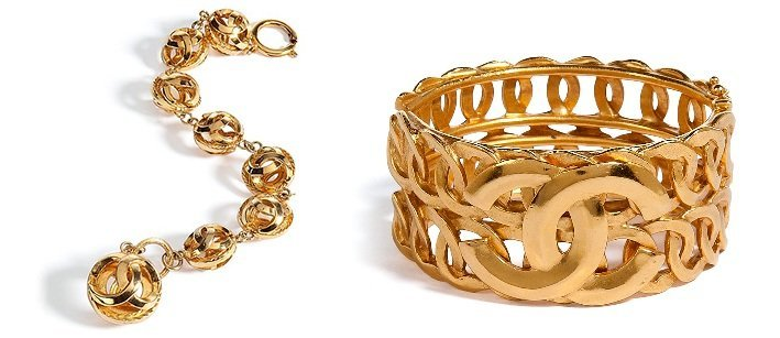 Chanel Vintage Jewelry Golden 96 Cc Row Bangle
