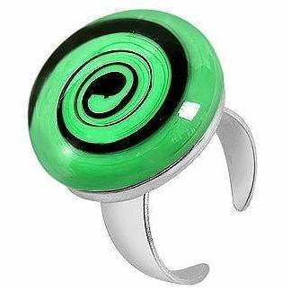 Akuamarina Größenverstellbarer Ring aus Silber und Muranoglas mit Spiraloptik