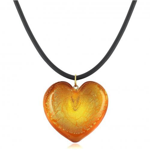 Akuamarina Herz-Kettenanhänger aus Muranoglas und Silberblättern