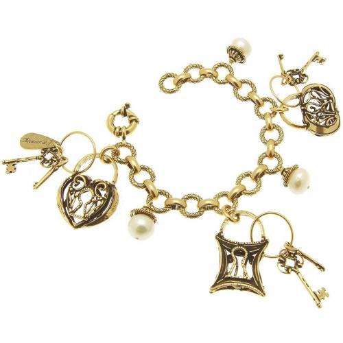 Alcozer & J Brass Charm Armband mit Schloss- und Schlüsselanhänger