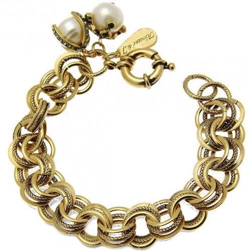 Alcozer & J Brass & Glas Perlen Armband