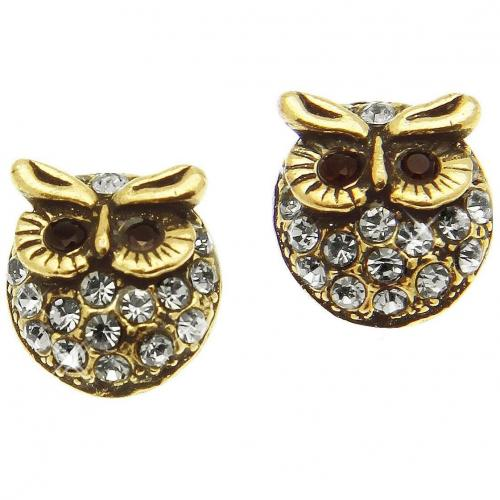 Alcozer & J Crystal Brass Owl Ohrringe