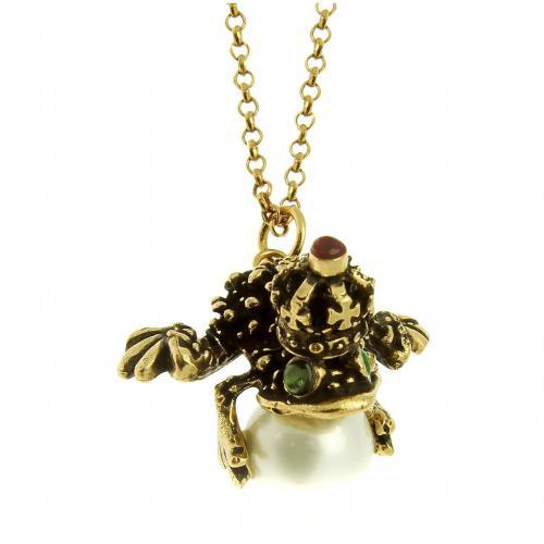 Alcozer & J Halskette mit Froschanhänger aus Glasperlen, Brass und Smaragd