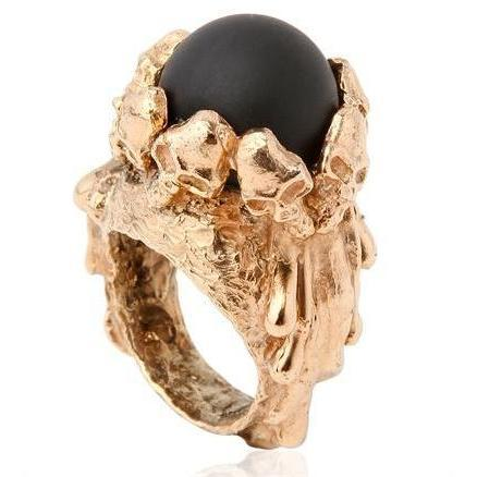 Alessandra Di Tommaso Barock Totenkopf & Lava Ring
