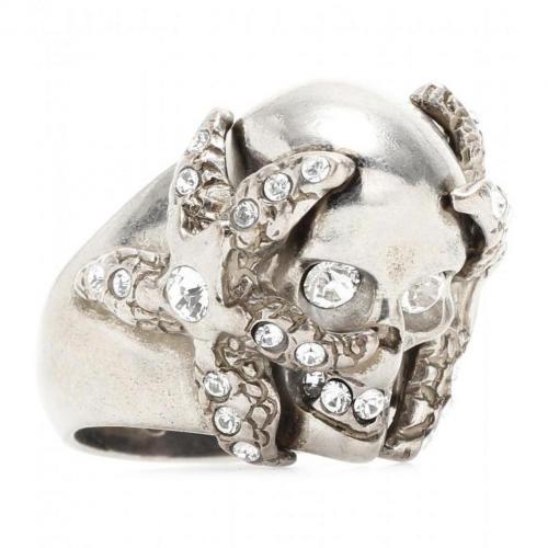 Alexander McQueen Ring mit Totenkopf und Seestern