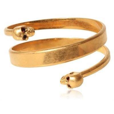 Alexander McQueen Zwilling Totenkopf Armband mit Swarovski Steinen gold