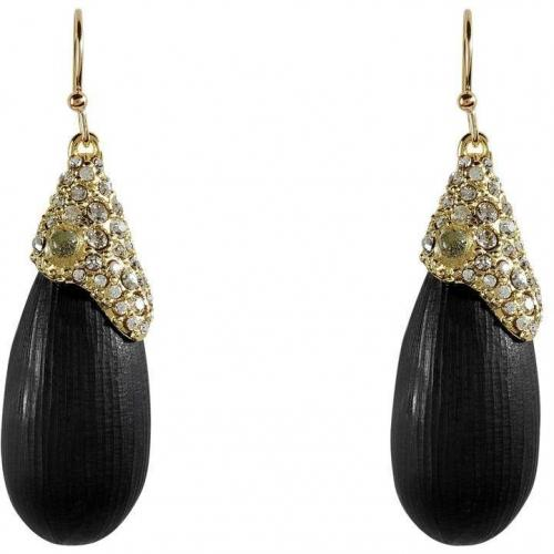 Alexis Bittar Black/Gold-Toned Modulor Encrusted Teardrop Ohrringe