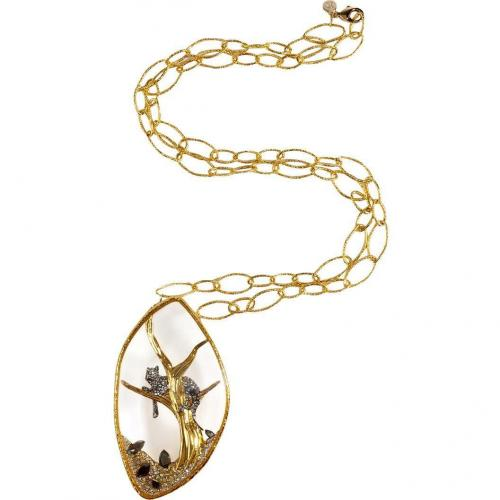 Alexis Bittar Gold-Toned Reliquary Pendant Siyabona Large Chain Halskette