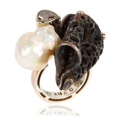 Alinari Stefano Kosmo Gold, Pearl and Diamond Ring