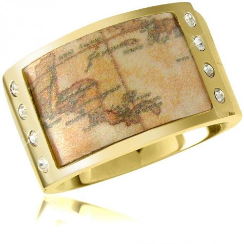 Alviero Martini 1A Classe 1a Prima Classe Vergoldeter Ring mit Geomuster und Swarovskisteinen