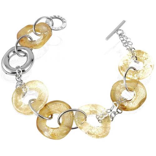 Antica Murrina Veneziana Jodie Armreif aus Sterlingsilber mit Ringen aus Muranoglas