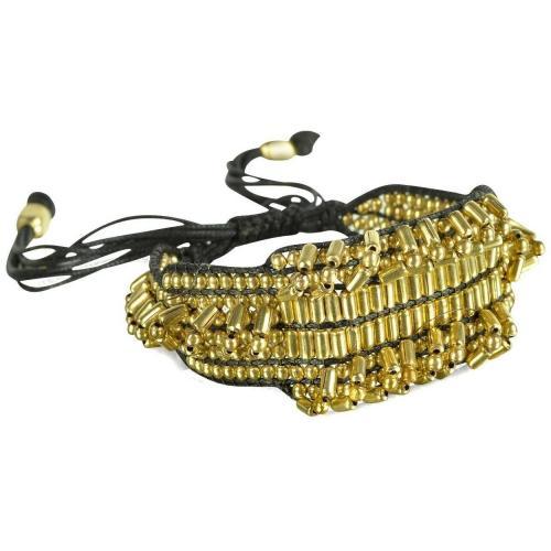 Antik Batik Elias Armband mit goldfarbenen Perlen