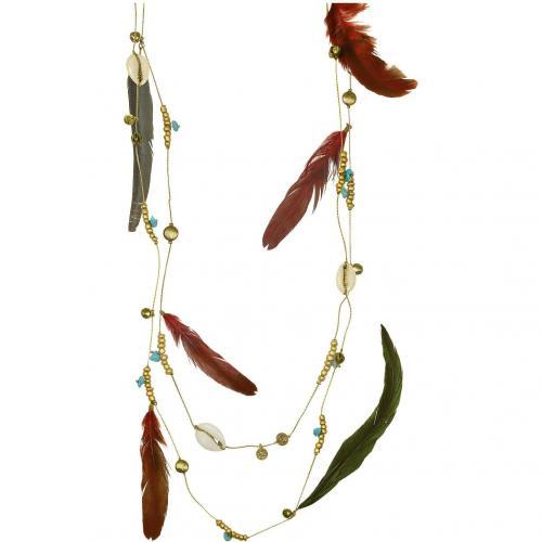 Antik Batik Kivas Halskette mit Feder und Ahänger