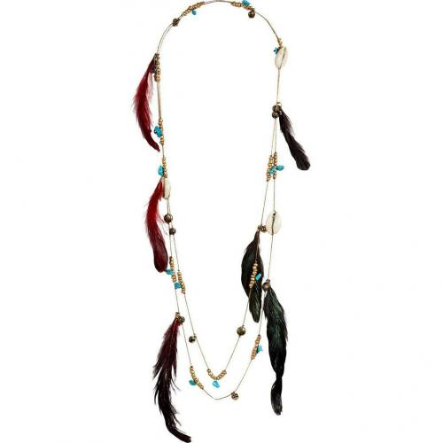 Antik Batik Multicolor Feather Shell Tribal Necklalace