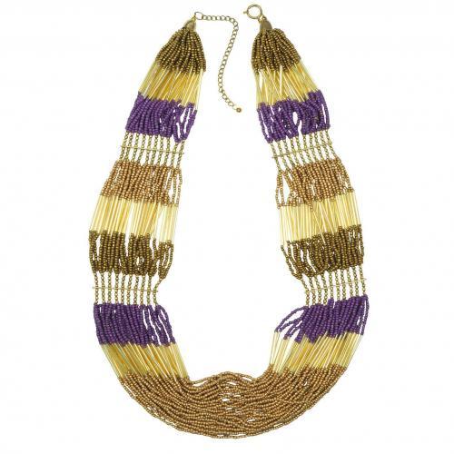 Antik Batik Nytia Halskette mit goldenen Perlen