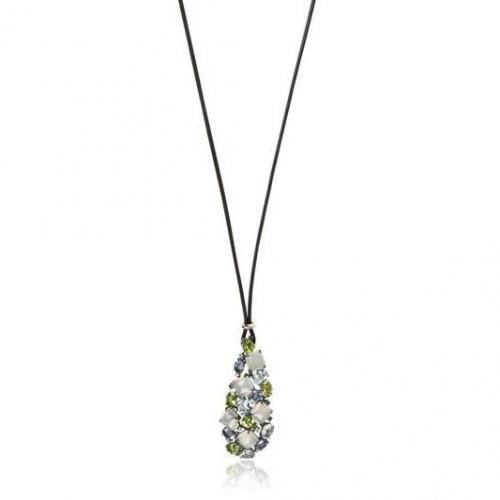 Antonini Leather Necklace With Diamond Pendant