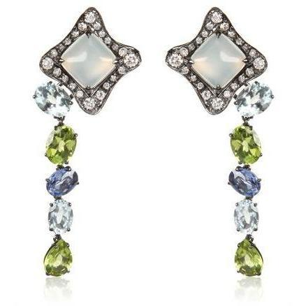 Antonini Moonstone Earrings With Sapphires