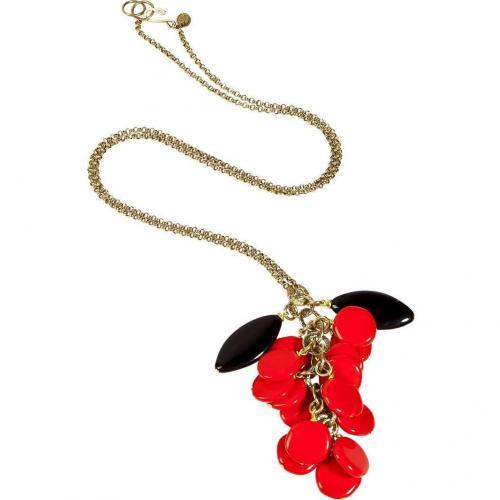 Aris Geldis Red and Black Beads Cluster Halskette