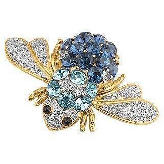 AZ Collection Brosche mit Käfer aus Swarovski-Kristall Blau