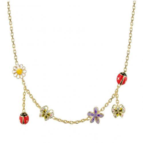 AZ Collection Garden Line Halskette mit vergoldeten Anhängern aus Emaille