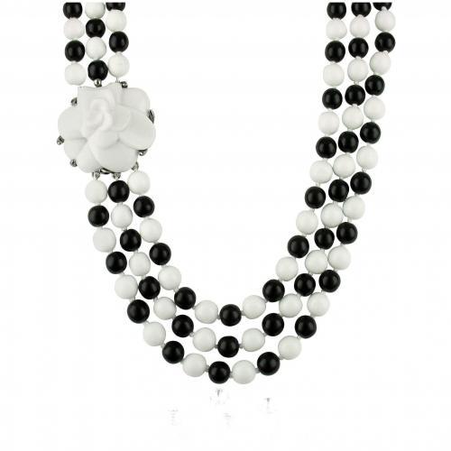 AZ Collection Halskette aus Glasperlen in schwarz & weiss