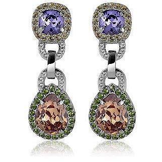 AZ Collection Ohrclips mit Swarovski Kristallen in purpurfarben und orange