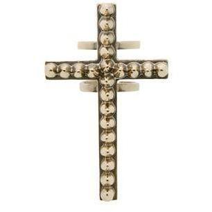 Bernard Delettrez Ring Kreuz und Nieten bronze