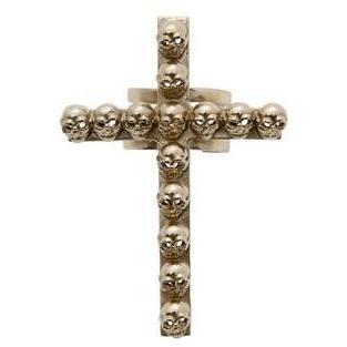Bernard Delettrez Ring Kreuz und Totenköpfe