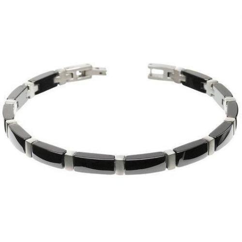 Boccia Armband Titan mit Keramik schwarz 0371-04