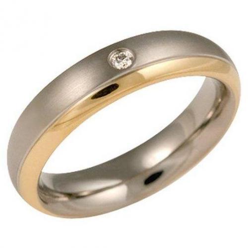 Boccia Ring Titan Bicolor mit Diamant 0130-12