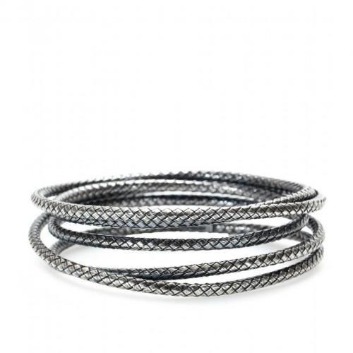 Bottega Veneta Intrecciato-Silberarmreif mit mehreren Ringen
