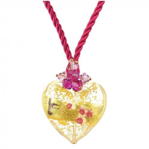 Briciole d'Oro Halskette aus Sterlingsilber mit Muranoglas-Herz