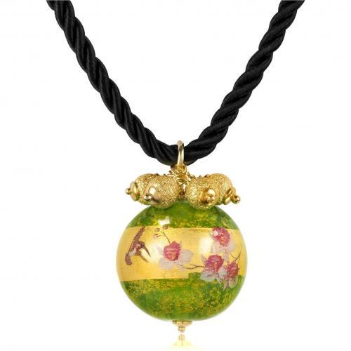 Briciole d'Oro Halskette mit Anhänger aus Sterlingsilber und Muranoglas