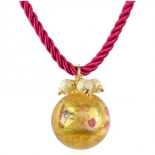 Briciole d'Oro Halskette mit Anhänger aus Sterlingsilber und Muranoglas Pink