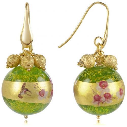 Briciole d'oro Ohrringe mit Muranoglasperlen