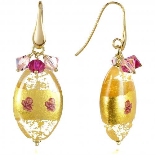 Briciole d'Oro Ohrringe mit ovalen Anhängern aus Muranoglas