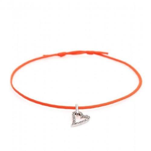Cada Cute-Heart Armband mit Charm 18kt weißgold mit weißen Diamanten