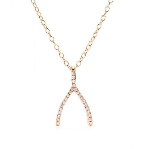 Cada Halskette Wishbone aus 18kt Rotgold mit weißen Diamanten