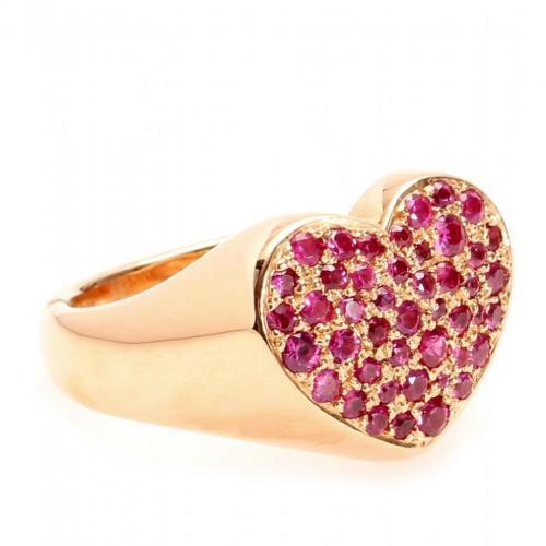 Cada Heart 18kt Roségold Ring mit Pinken Saphiren
