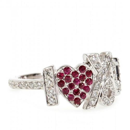 Cada I Love You 18kt weißgold Ring mit weißen Diamanten und Pinken Rubinen