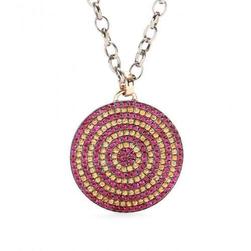 Cada Large Magic Target Halskette aus Sterlingsilber mit Anhänger und Bunten Saphiren