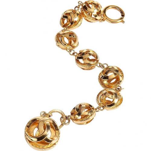 Chanel Vintage Jewelry Golden 80s Cc Balls Armband