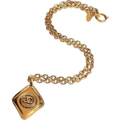 Chanel Vintage Jewelry Golden 80s Diamond Shape Halskette