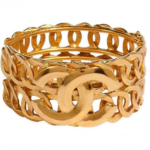 Chanel Vintage Jewelry Golden 96 Cc Row Bangle