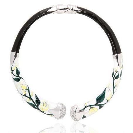 Creart II Iris Halskette aus Emaille und Kristall