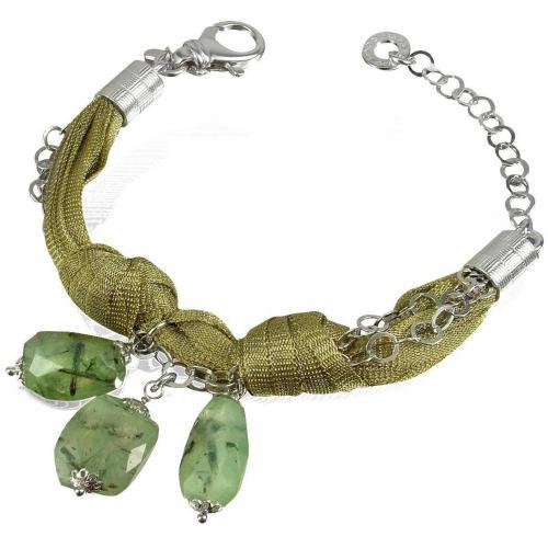 Daco Milano Armband aus zahlreichen Sterlingsilber-Kettchen mit grünen Steinen