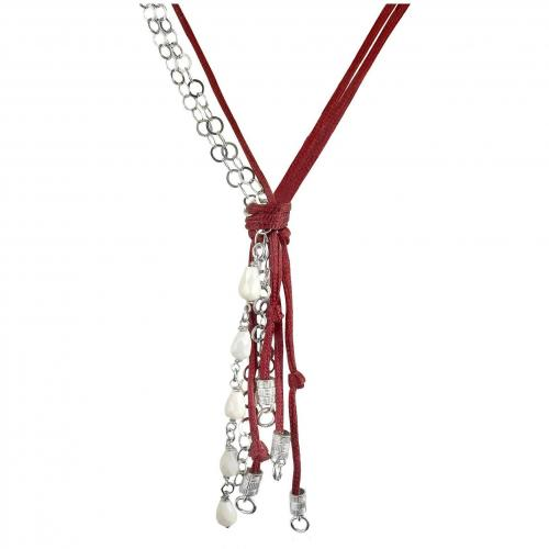 Daco Milano Halskette aus verschiedenen Bändern mit weissen Agateanhängern